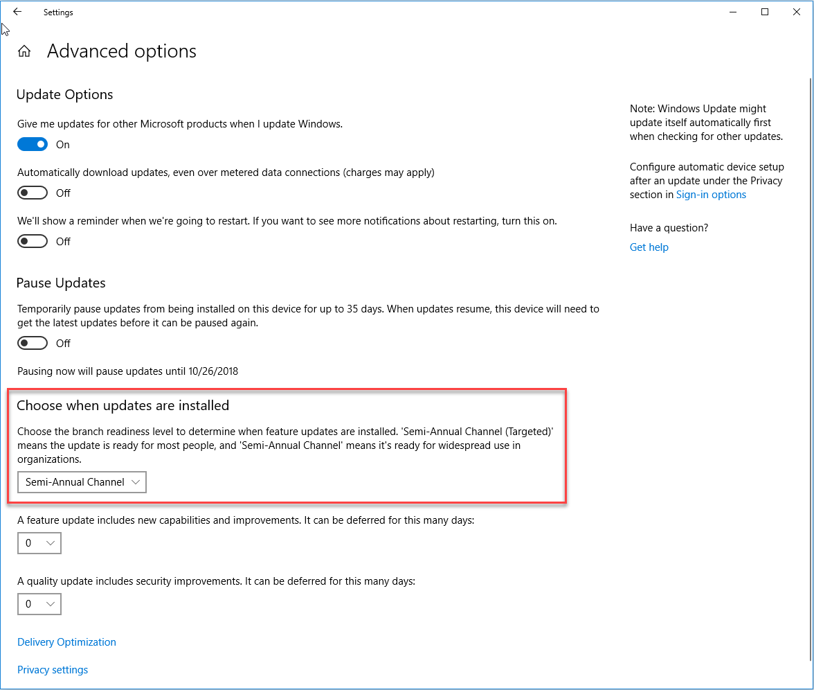 Windows 10 Updates Advanced Options