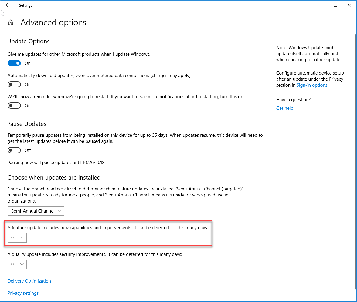 Feature Update Windows 10 Advanced Update Options