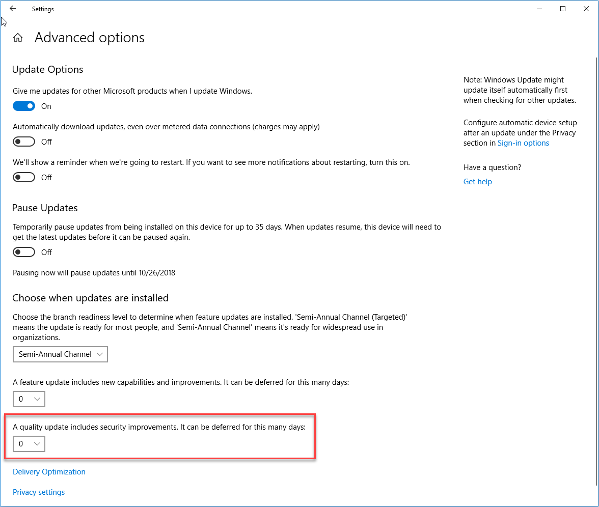 Quality Update - Windows 10 Advanced Update Options